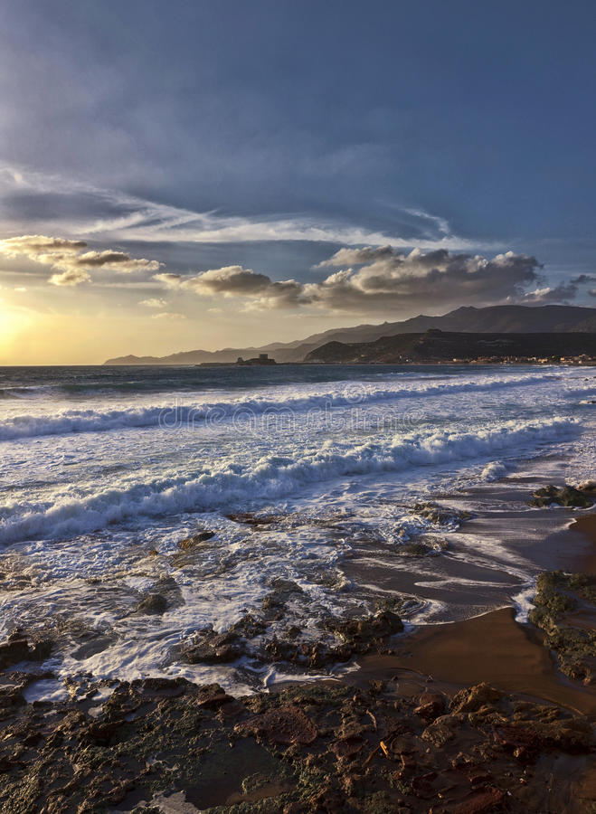 Moody sunset in Sardinia - Italy stock image