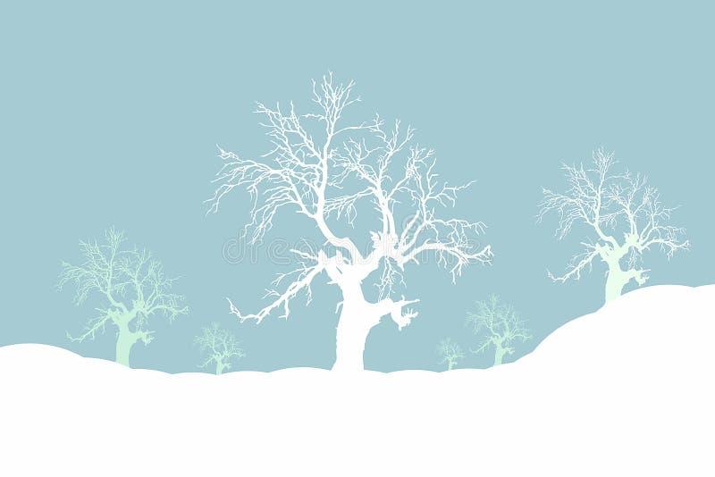Moody winter. Snowy winter scene illustration stock illustration