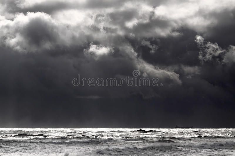 Moody winter seascape. Before rain and storm stock photos