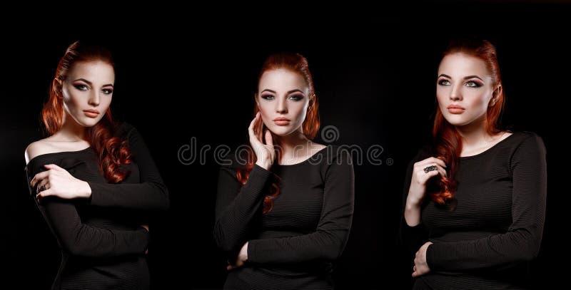 Mooi aantrekkelijk meisje met rood haar op een zwarte achtergrond B royalty-vrije stock fotografie