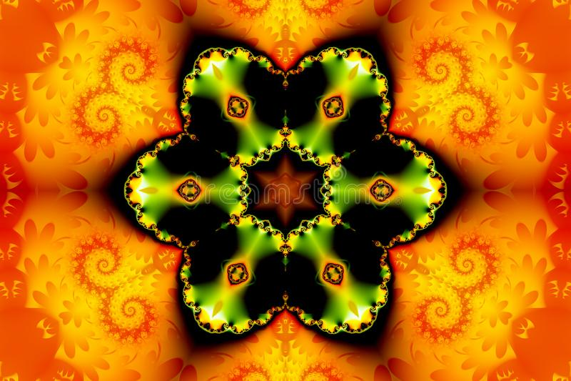 Mooi abstract cijfer die uit een fractal bloem en een ster op een oranje achtergrond van fractal krullen bestaan vector illustratie