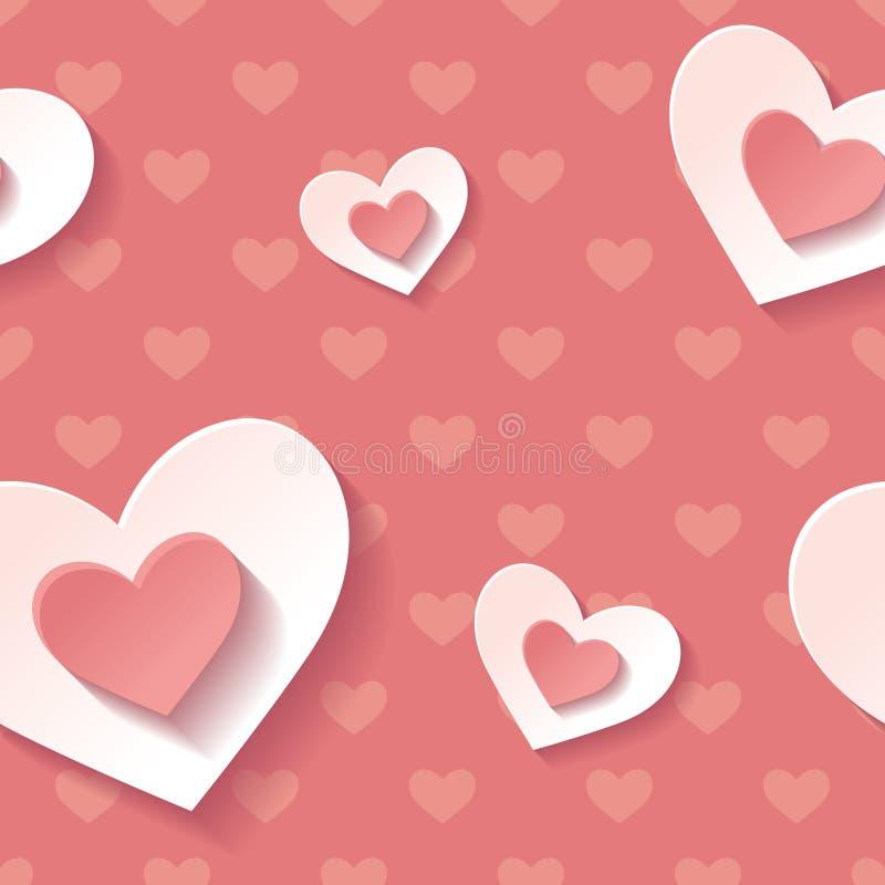 Mooi achtergrond naadloos patroonrood met witte tot bloei komende harten Liefde modern behang stock illustratie