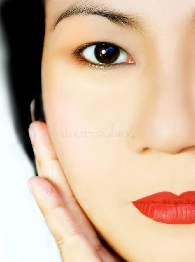 Mooi Aziatisch gezicht stock foto's