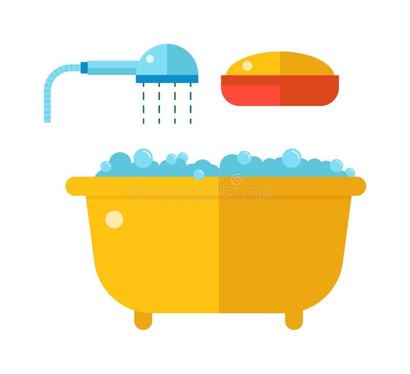 Mooi bad met douche en zeepbeeldverhaal vlakke vectorillustratie vector illustratie