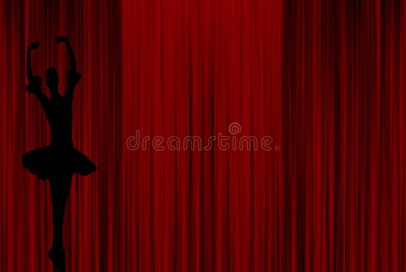 Mooi ballerinasilhouet van vrouwen die op pointeschoenen dansen die een tutukleding met een rode gordijnachtergrond dragen royalty-vrije illustratie