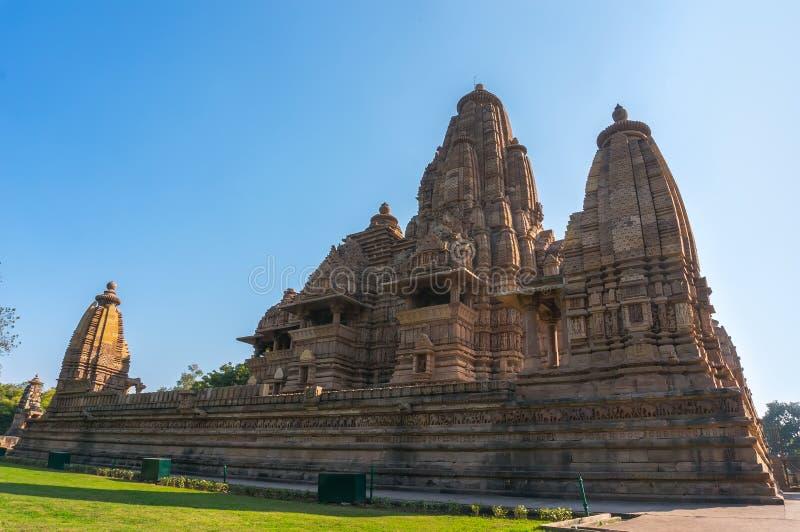 Mooi beeld van de tempel van Kandariya Mahadeva, Khajuraho, Madhyapradesh, India stock fotografie