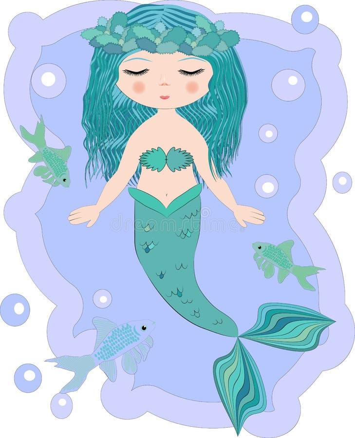 Mooi beeldverhaal weinig meermin in een kroon Sirene Overzees Thema vector illustratie