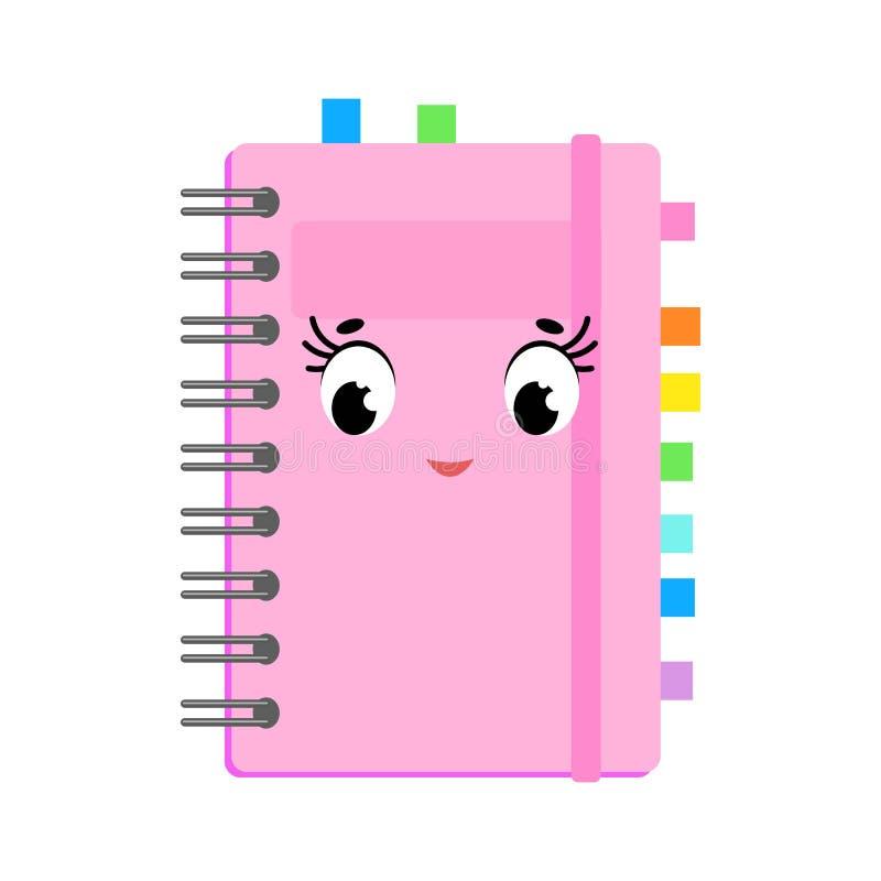 Mooi beeldverhaalboek in een roze dekking Leuk karakter Eenvoudige vlakke vectordieillustratie op witte achtergrond wordt geïsole stock illustratie