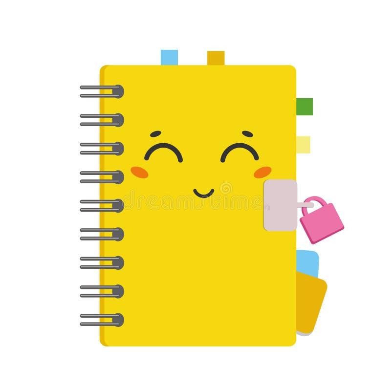 Mooi beeldverhaalboek op een spiraal in een gele dekking met gekleurde referenties Leuk karakter met een slot Eenvoudige vlakke v royalty-vrije illustratie
