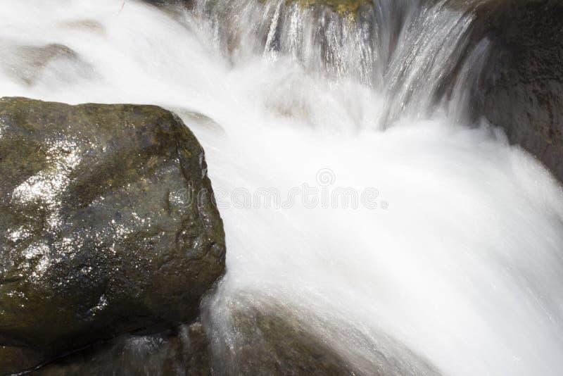 Mooi Behang van waterval, stroom van de stroom de snelle melk Rotsachtige de bergrivier van Abchazië in de boswatervalzuivelfabri stock afbeeldingen