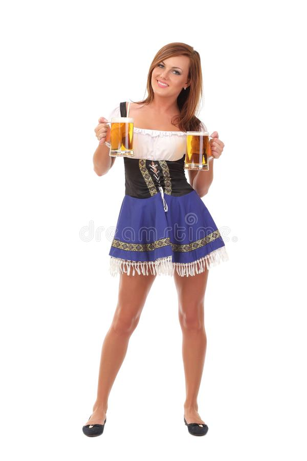 mooi Beiers die meisje over witte achtergrond wordt geïsoleerd royalty-vrije stock afbeelding