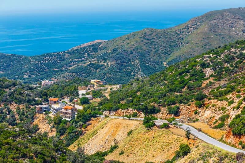 Mooi berglandschap dichtbij Kritsa-Dorp, Kreta, Griekenland royalty-vrije stock foto