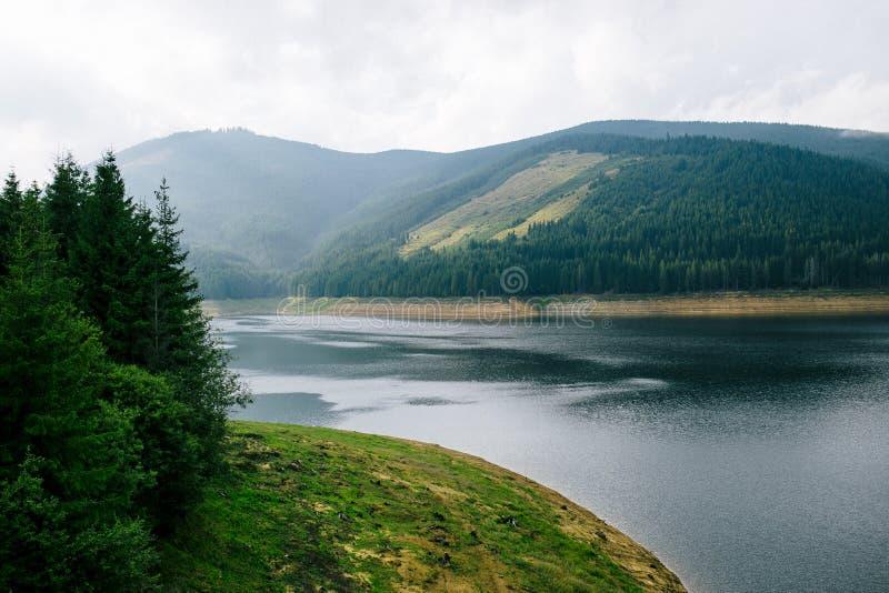 Mooi berglandschap met riviermening van Transalpine, de Karpatische Bergen Horizontaal buitenschot royalty-vrije stock foto's