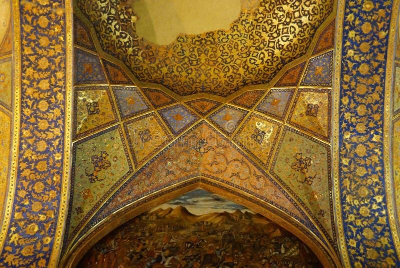 Mooi binnenland van het paleis van Chehel Sotoun in Isphahan, Iran royalty-vrije stock fotografie