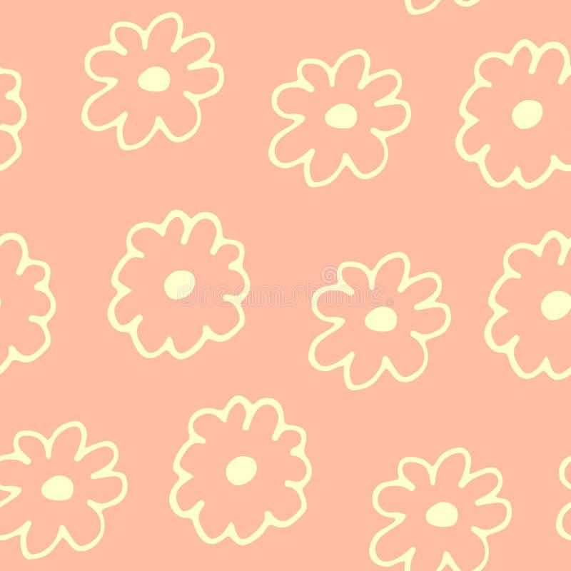 Mooi bloemen naadloos patroon met hand getrokken bloemen stock illustratie