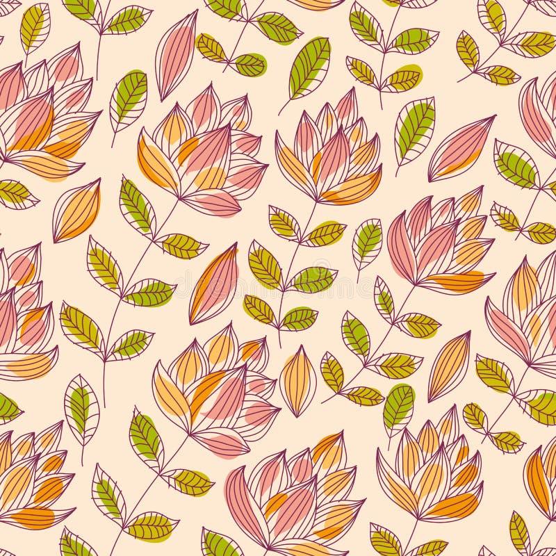 Mooi bloemen naadloos patroon, uitstekende stijl vectorbackgro stock illustratie