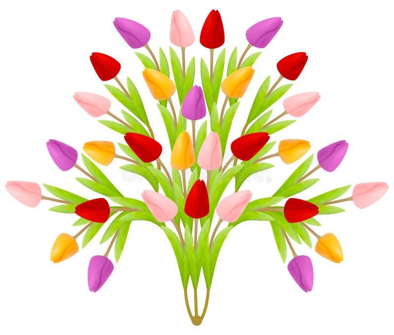 Mooi bloemenboeket van tulpen in de vorm van een boom van bloemen, heldere kleurrijke multicolored geïsoleerd op een witte achter vector illustratie
