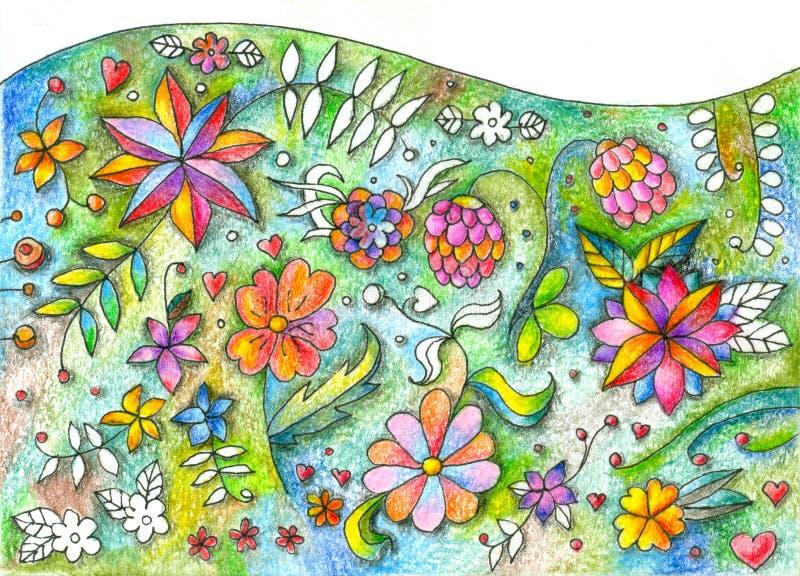 Mooi bloemengazon Verschillende de Zomerbloemen Hand getrokken beeld stock illustratie
