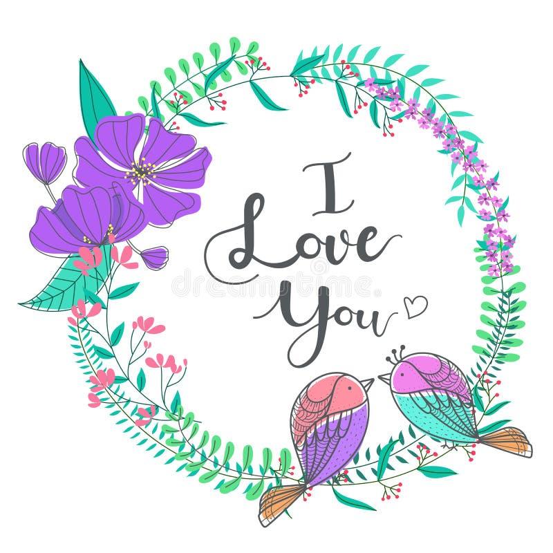 Mooi bloemenkader met paarvogels vector illustratie