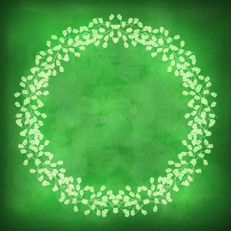 Mooi bloemenkader op een groene achtergrond met grungegevolgen royalty-vrije illustratie