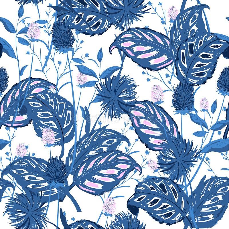 Mooi Bloemenpatroon in het vele soort bloemen Tropische B vector illustratie