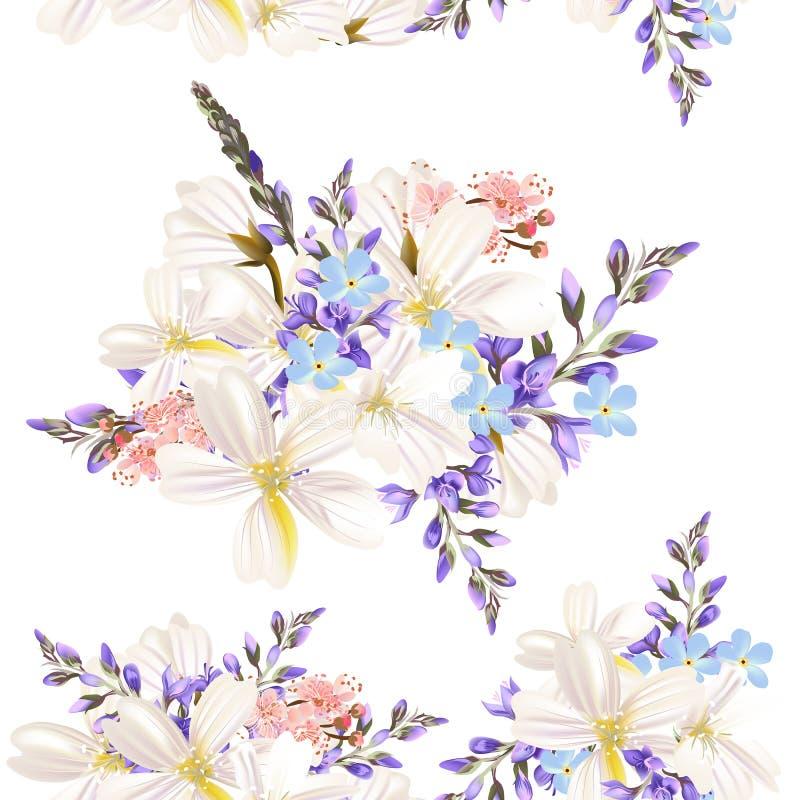 Mooi bloemenpatroon met gebiedsbloemen vector illustratie