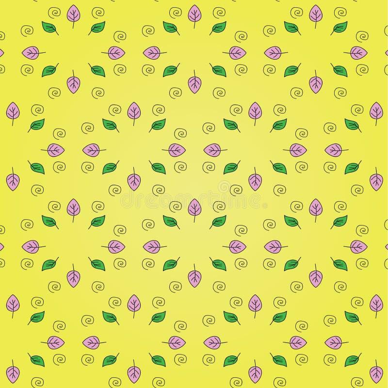 Mooi bloemenpatroon: roze en groene bladeren, zwarte spiraal op een heldere gele achtergrond royalty-vrije illustratie