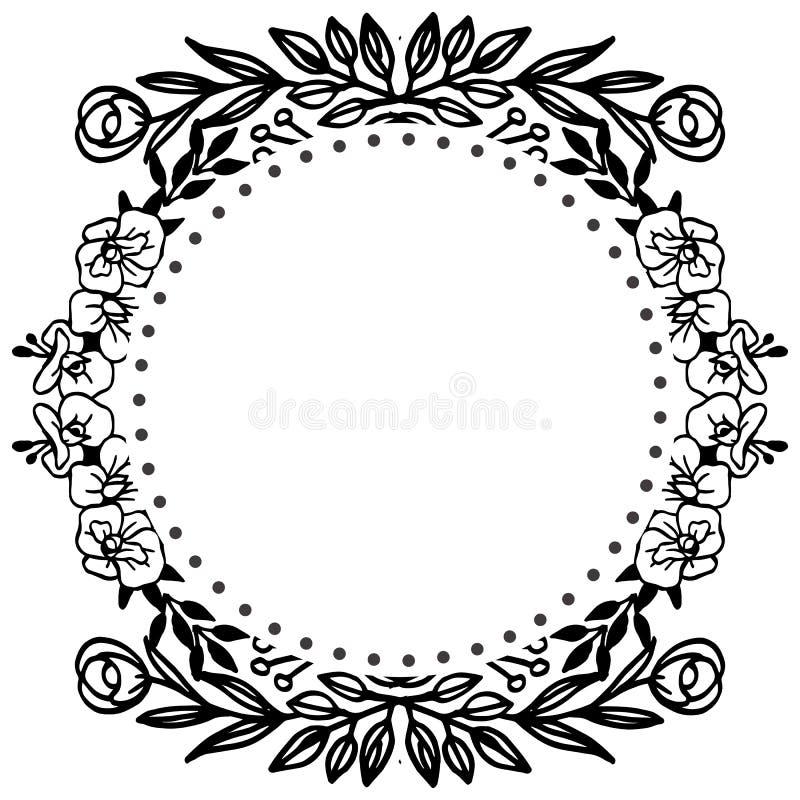 Mooi bloemkader van element, wijnoogst van kaarten Vector stock illustratie