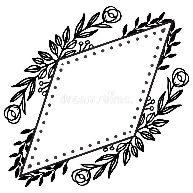 Mooi bloemkader van element, wijnoogst van kaarten Vector royalty-vrije illustratie