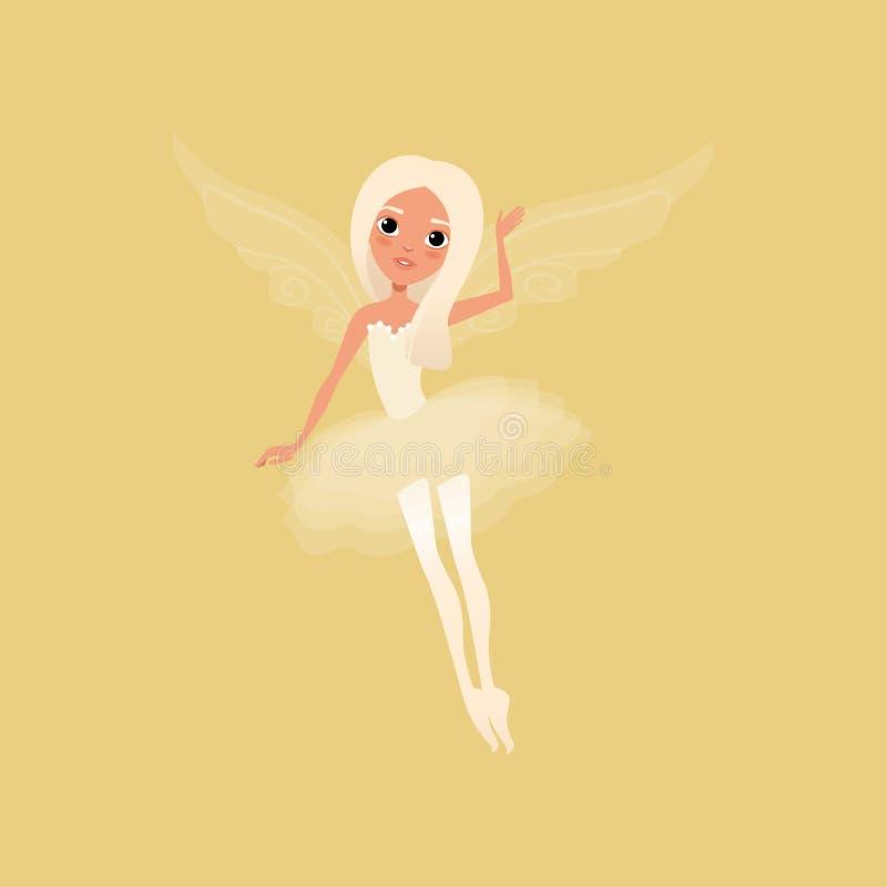 Mooi blond meisje met grote glanzende ogen en magische vleugels Fee die mooie tutukleding dragen Denkbeeldig fairytalekarakter vector illustratie
