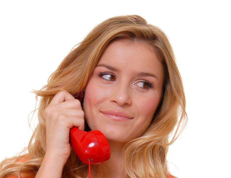 Mooi Blond Meisje op telefoon royalty-vrije stock foto's