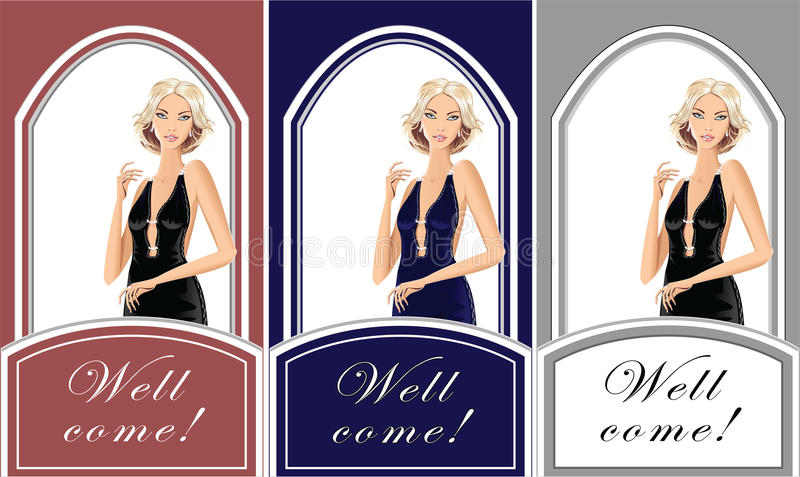 Mooi blond meisje voor winkelkleren vector illustratie