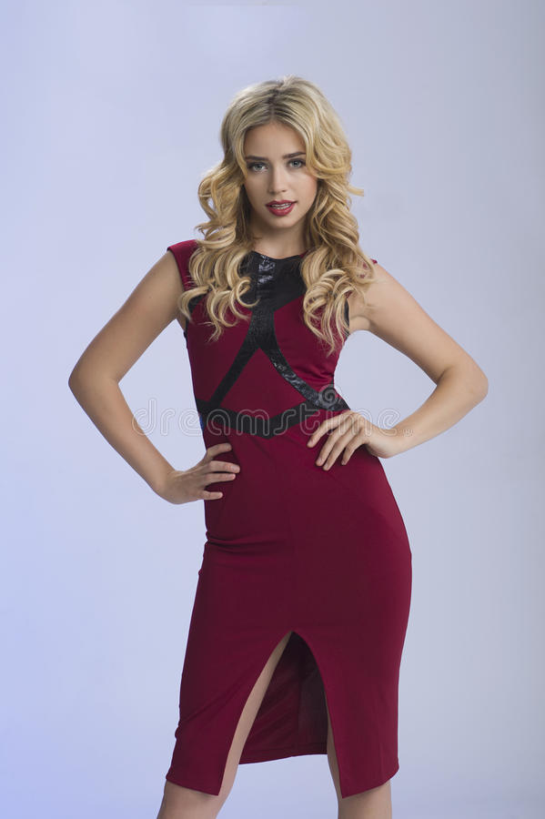 Mooi Blonde in Rood stock foto's