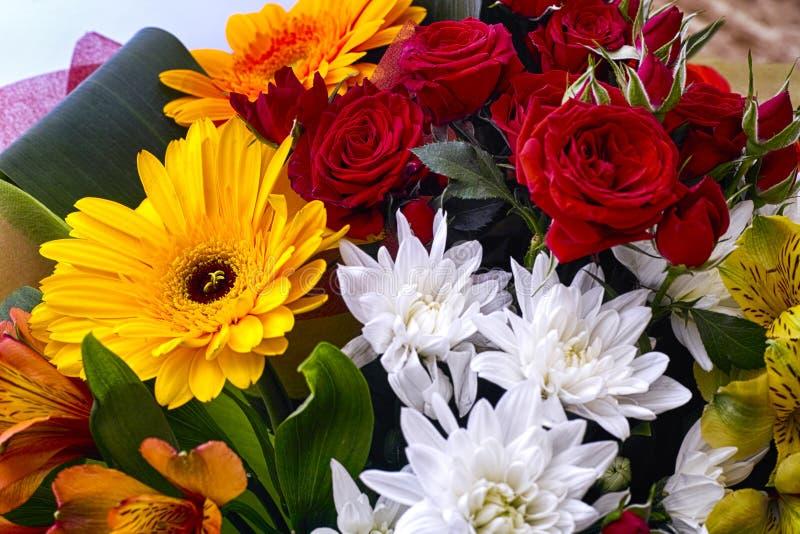Mooi boeket met rode rozen, witte chrysanten en gerbe stock afbeeldingen