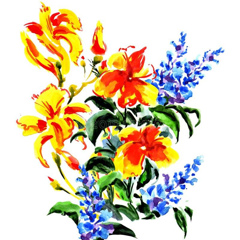 Mooi boeket van heldere geïsoleerde bloemen vector illustratie
