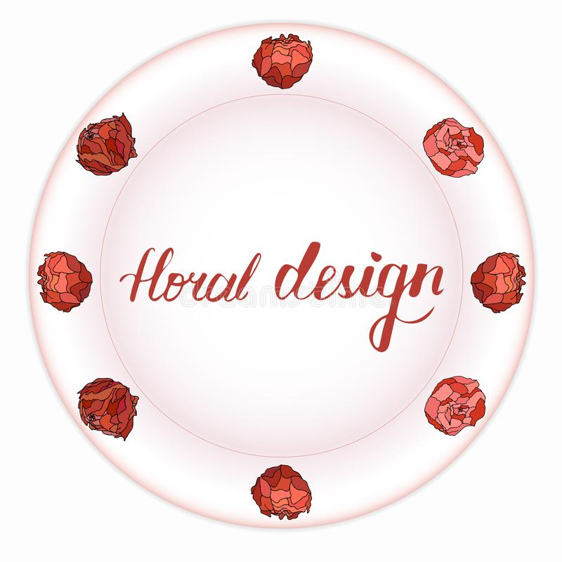 Mooi boeket van pioenen op een roze plaat stock illustratie