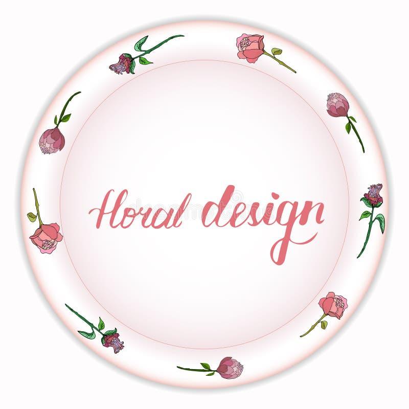 Mooi boeket van pioenen op een roze plaat royalty-vrije illustratie