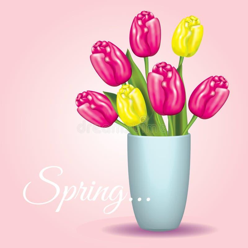 Mooi boeket van tulpen in een vaas Vector illustratie enkel Geregend vector illustratie