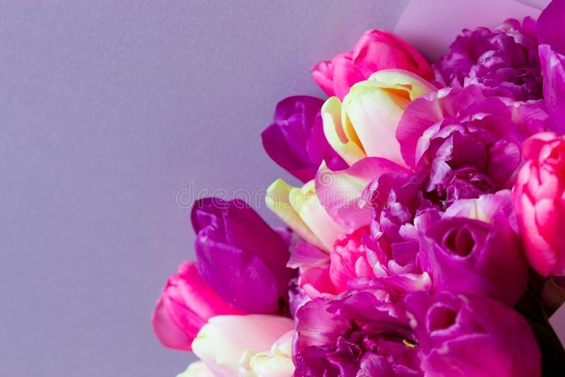 Mooi boeket van verse kleurrijke roze purpere tulpenbloemen op grijze achtergrond stock afbeelding