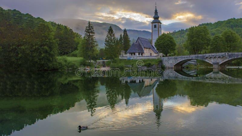 Mooi Bohinj-meer royalty-vrije stock afbeeldingen