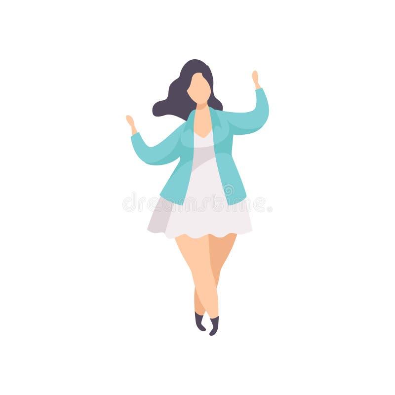 Mooi brunette plus groottevrouw in modieuze kleren, curvy, te zwaar meisje, lichaams positieve vectorillustratie  vector illustratie