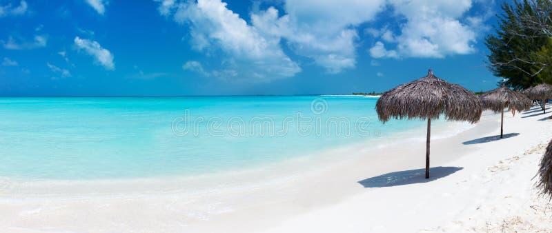Mooi Caraïbisch strandpanorama royalty-vrije stock afbeelding