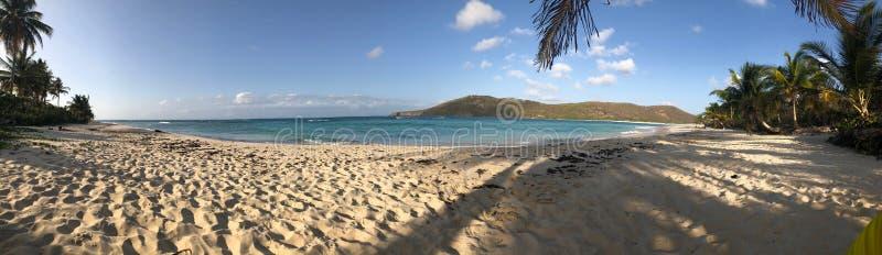 Mooi Caraïbisch Strandpanorama met Berg stock fotografie