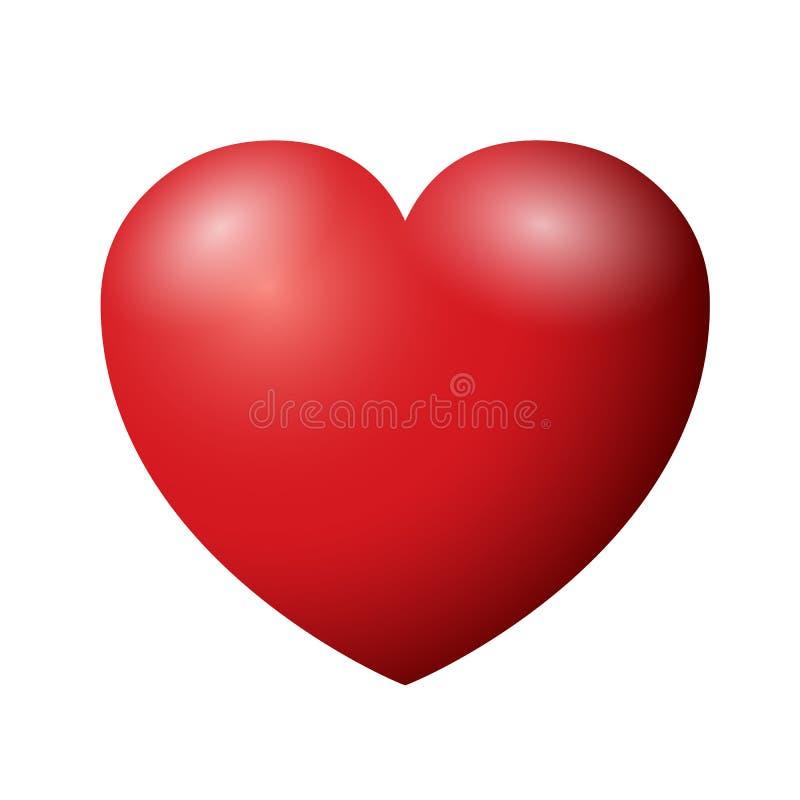 Mooi 3d rood hartteken - vector vector illustratie