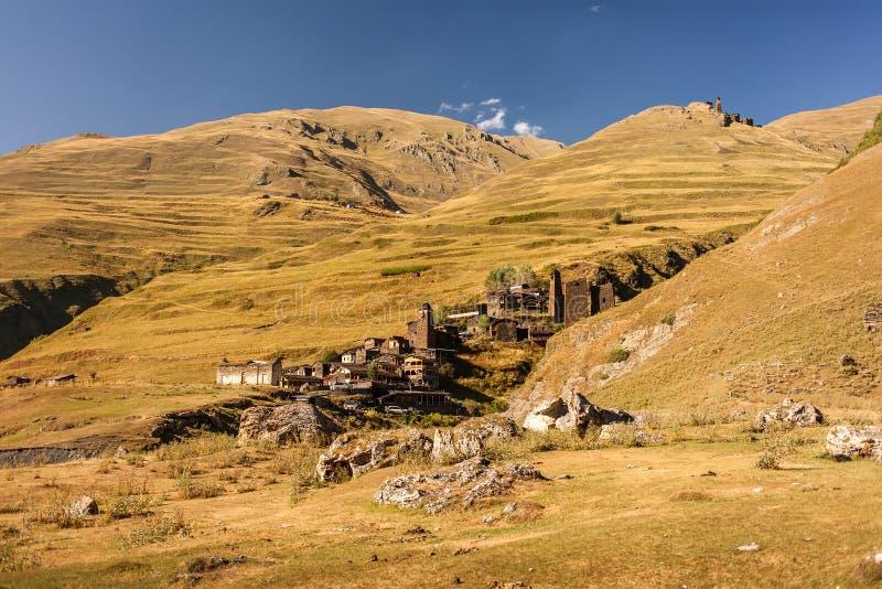 Mooi Dartlo-dorp, Tusheti, Georgië royalty-vrije stock fotografie