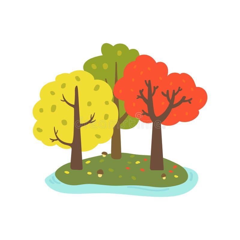 Mooi de herfstlandschap Reeks bomen op witte achtergrond wordt ge?soleerd die Bos op het eiland Hand-drawn stijl Vector vector illustratie