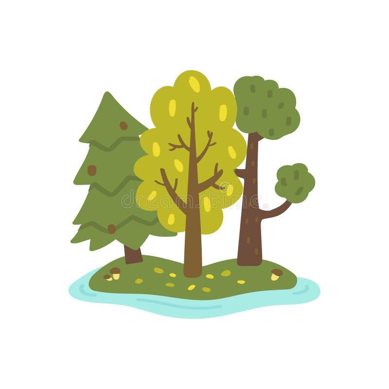 Mooi de herfstlandschap Reeks bomen op witte achtergrond wordt ge?soleerd die Bos op het eiland Hand-drawn stijl Vector illustrat stock illustratie