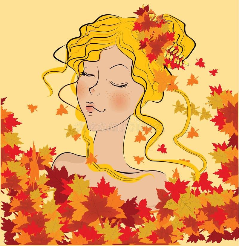 Mooi de herfstmeisje vector illustratie