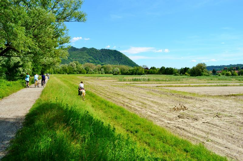 Mooi de lente landelijk landschap in een natuurreservaat in een zonnige dag met mensen die een promenade maken stock afbeeldingen