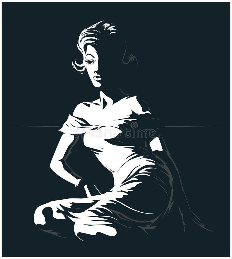 Mooi de vrouwensilhouet van de aantrekkingskracht royalty-vrije illustratie